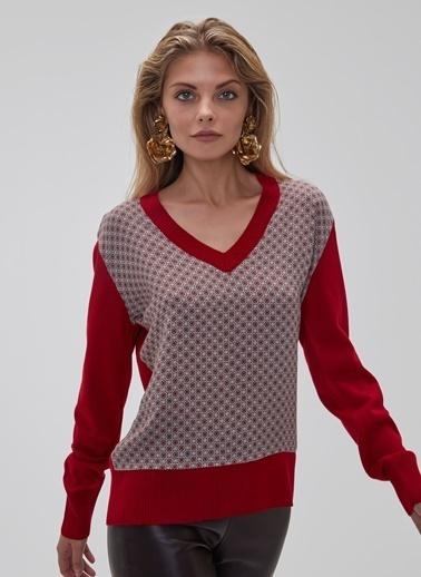 People By Fabrika Desenli Bluz Kırmızı